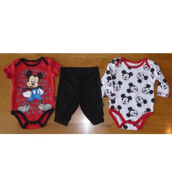 Disney Baby 3pc Mickey Mouse Set Bodysuits   Pants f34cea493